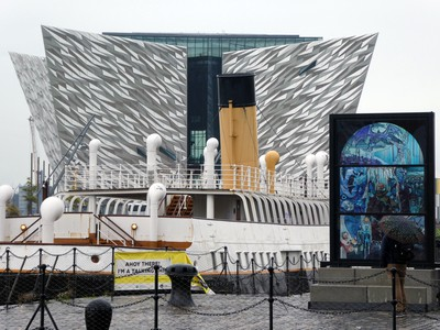 The SS Nomadic sits in front of the Titanic Belfast exhibition centre.