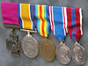 The medals awarded to Pte. John Kinross, including his Victoria Cross at far left, on display at Edmonton City Hall in 2015.
