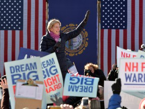 Sen. Elizabeth Warren, a Democratic presidential hopeful, speaks to supporters at a rally outside the New Hampshire State House.