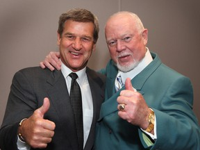 Hockey Hall of Fame inductee Bobby Orr and Don Cherry, following the CHL/NHL Top Prospects game on Jan. 18, 2006.