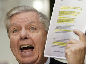 Senate Judiciary Committee Chairman Lindsey Graham (R-SC) holds up a copy of the Steel dossier as Michael Horowitz, inspector general for the Justice Department, testifies before the Senate Judiciary Committee in the Hart Senate Office Building on December 11, 2019 in Washington, DC.