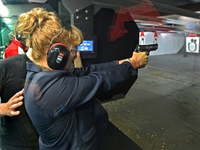 Alison de Groot, managing director of the Canadian Sporting Arms and Ammunition Association, seen at a gun range on Aug. 24, 2019.
