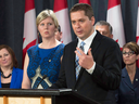 Standing with his wife Jill Scheer and supporters, MP Andrew Scheer announces he will run for the leadership of the Conservative party, Sept. 28, 2016 in Ottawa.