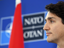 Prime Minister Justin Trudeau holds a press conference at the NATO summit on Dec. 4, 2019 in Hertford, England.