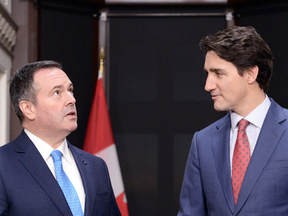 Alberta Premier Jason Kenney meets with Prime Minister Justin Trudeau on Parliament Hill in Ottawa on Dec. 10, 2019.