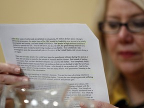 Representative Debbie Lesko, a Republican from Arizona, reads a copy of the letter U.S. President Donald Trump sent to House Speaker Nancy Pelosi during a House Rules Committee markup meeting on Capitol Hill in Washington, D.C., U.S., on Tuesday, Dec. 17, 2019. The House is preparing for an expected vote Wednesday on two articles ofimpeachmentagainst Trump.