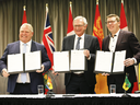 Left to right, Ontario Premier Doug Ford, New Brunswick Premier Blaine Higgs and Saskatchewan Premier Scott Moe announce a collaboration between the provinces on small, modular nuclear reactors on Dec. 1, 2019.