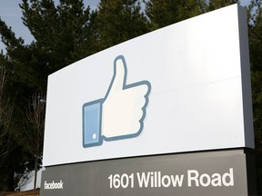 A Facebook sign is seen at the main entrance of Facebook's new headquarters in Menlo Park in California. -February 02, 2012