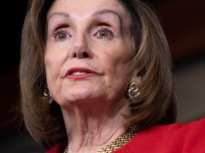 In this file photo taken on December 19, 2019 Speaker of the House Nancy Pelosi holds a press conference on Capitol Hill in Washington, DC.