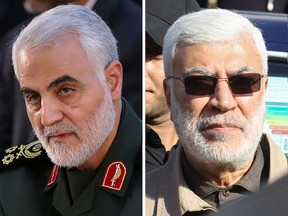 Iranian Revolutionary Guard Commander Qassem Soleimani, left, and Abu Mahdi al-Muhandis, a commander in Iraq's Popular Mobilization Forces were killed by a U.S. airstrike on Jan. 3, 2019 in Baghdad.