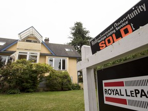 A real estate sign is pictured in Vancouver, B.C., Tuesday, June, 12, 2018. Housing assessments in British Columbia show the real estate market continues to see signs of moderation in the Lower Mainland while stabilizing on Vancouver Island and other parts of the province.