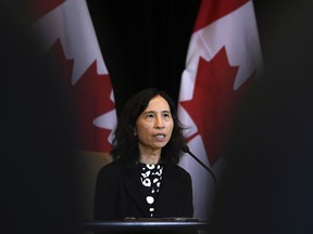 Chief Public Health Officer of Canada Dr. Theresa Tam speaks at a press conference following the announcement by the Government of Ontario of the first presumptive confirmed case of a novel coronavirus in Canada, in Ottawa on January 26, 2020.
