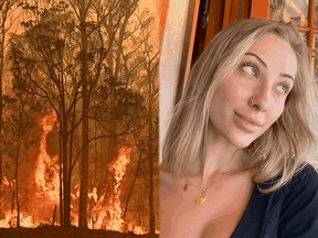 A combined image depicting the wildfires raging in Australia and nude model Kaylen Ward.
