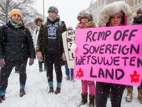 About 200 people held an emergency rally in solidarity with Wet'suwet'en and condemn the RCMP's violations of Wet'suwet'en traditional law in Ottawa on Friday Feb. 7, 2020.