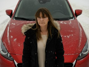 Cindy Thompson is seen near where she was pulled over by an RCMP officer in Fox Creek, Alberta, on Friday, Feb. 14, 2020.