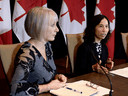 Health Minister Patty Hajdu, left, with Canada's Chief Public Health Officer Dr. Theresa Tam.