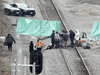 Protestors block the CN rail lines heading out of Hamilton, Ont., on Feb. 25, 2020.