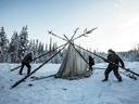Supporters of the Wet'suwet'en hereditary chiefs and who oppose the Coastal GasLink pipeline set up a support station near Houston B.C., on Jan. 8, 2020.