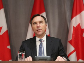 Canada's Finance Minister Bill Morneau speaks during a news conference on Parliament Hill March 18, 2020 in Ottawa, Ontario.