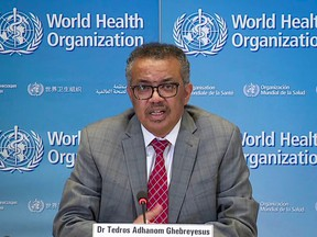 WHO Director General Tedros Adhanom delivers a news briefing on COVID-19 from the WHO headquarters in Geneva on March 30.