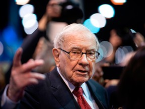 Warren Buffett, CEO of Berkshire Hathaway, speaks to the press as he arrives at the 2019 annual shareholders meeting in Omaha, Neb., on May 4, 2019.