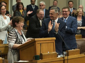 Finance Minister Donna Harpauer delivers her budget speech at Legislative Building in Regina on March 20, 2019. The Saskatchewan goverment says it's not going to release its full budget Wednesday amid the current economic uncertainty and COVID-19 pandemic. It says they will only unveil the government's spending plans for the upcoming year, but not revenue forecasts. Minister of Finance Donna Harpauer says the revenue forecasts in the budget are no longer accurate.