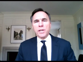 Finance Minister Bill Morneau put his fanciest living room on display during the first-ever 'virtual parliament'.
