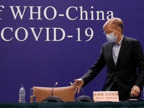 Canadian Bruce Aylward of the World Health Organization at a news conference of the WHO-China Joint Mission about its investigation of the COVID-19 outbreak in Beijing, China, Feb. 24, 2020.