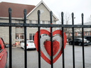 A heart in support of frontline workers placed on the fence at the Anson Place Care Centre in Hagersville, Ont.