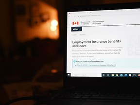 The employment insurance section of the Government of Canada website is shown on a laptop in Toronto on April 4, 2020. The federal government is looking at ways to speed-up the introduction of skills-training help for out-of-work Canadians, say groups involved in helping implement the program.