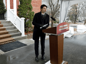 Prime Minister Justin Trudeau holds his daily news conference on COVID-19 from Rideau Cottage in Ottawa, April 9, 2020.