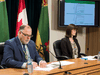 Scott Livingstone, CEO of the Saskatchewan Health Authority and Dr. Susan Shaw, the authority's Chief Medical Officer, hold a technical media briefing regarding modeling related to the COVID-19 pandemic in Saskatchewan, April 8, 2020.