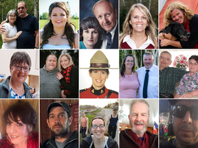 The 22 victims of a shooting rampage in Nova Scotia.
