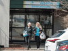 Workers are seen leaving Residence Herron, a senior's long-term care facility, following a number of deaths due to a COVID-19 outbreak, in Dorval, Quebec.