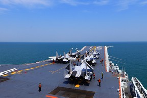 The Liaoning, China's sole operational aircraft carrier, during a combat drill in the East China Sea in April 2018.