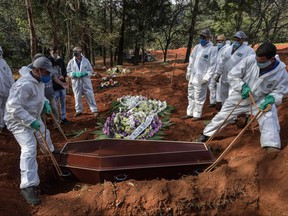 Employees bury the coffin of a person who died from COVID-19 at the Vila Formosa cemetery, in the outskirts of Sao Paulo, Brazil on May 20, 2020. Brazil has emerged as the latest flashpoint in the coronavirus pandemic with more than 270,000 cases registered and nearly 18,000 deaths so far. The increase in infections is not expected to peak until June.