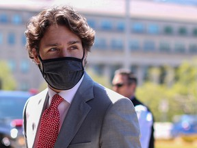 Canadian Prime Minister Justin Trudeau arrives on Parliament Hill to attend a sitting of the Special Committee on the COVID-19 Pandemic.