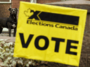 A polling station in Edmonton during the 2019 federal election, Oct. 21, 2019.