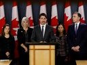 Canada's Prime Minister Justin Trudeau, with Deputy Prime Minister Chrystia Freeland, left, Minister of Health Patty Hajdu, Chief Public Health Officer Dr. Theresa Tam and Minister of Finance Bill Morneau, at a news conference in Ottawa on March 11, 2020.