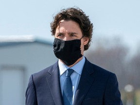 Canada's Prime Minister Justin Trudeau wears a protective face mask at Canadian Forces Base in Trenton, Ontario, Canada May 6, 2020.