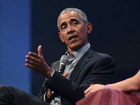 """In this file photo taken on September 29, 2019, former US President Barack Obama speaks during the """"Bits & Pretzels"""" start-ups and founder congress in Munich, Germany."""