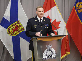 RCMP Supt. Darren Campbell discusses the timeline of events and locations of the Nova Scotia shootings at RCMP headquarters in Dartmouth, N.S., on April 24, 2020.