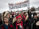 Hereditary Chief Ronnie West, centre, from the Lake Babine First Nation, in a march to show support for the Wet'suwet'en Nation, in Smithers, B.C., on Jan. 16, 2019.
