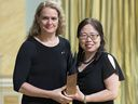 Xiangguo Qiu receives a 2018 innovation award from governor general Julie Payette for her contribution to the development of a drug to fight Ebola.