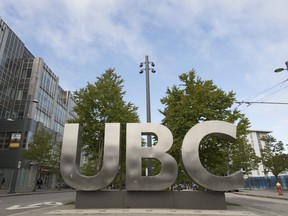 The UBC sign is pictured at the University of British Columbia in Vancouver on April 23, 2019.