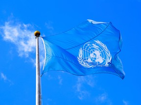 The United Nations flag is seen flying at its headquarters in New York City.