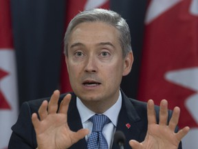 Foreign Affairs Minister Francois-Philippe Champagne responds to a question during a news conference in Ottawa on March 9, 2020.