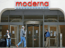 The headquarters of Moderna Inc, which is developing a vaccine against the COVID-19 coronavirus, in Cambridge, Massachusetts.