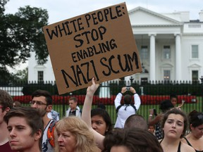 Protesters gather in front of the White House in Washington, D.C., in 2017.