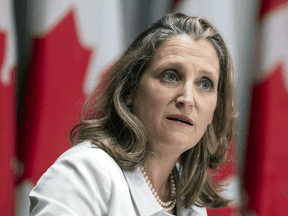 Finance Minister Chrystia Freeland speaks at a news conference Thursday August 20, 2020 in Ottawa.
